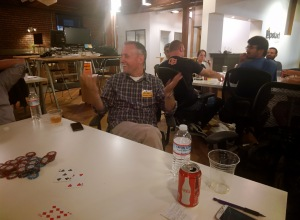 Greg getting knocked out of the July Poker Tournament